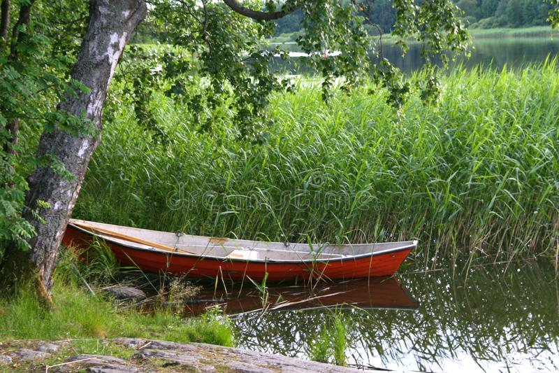 Boat on the lake. One red boat at the coast of the lake. Surrounded with long fresh grown grass royalty free stock images