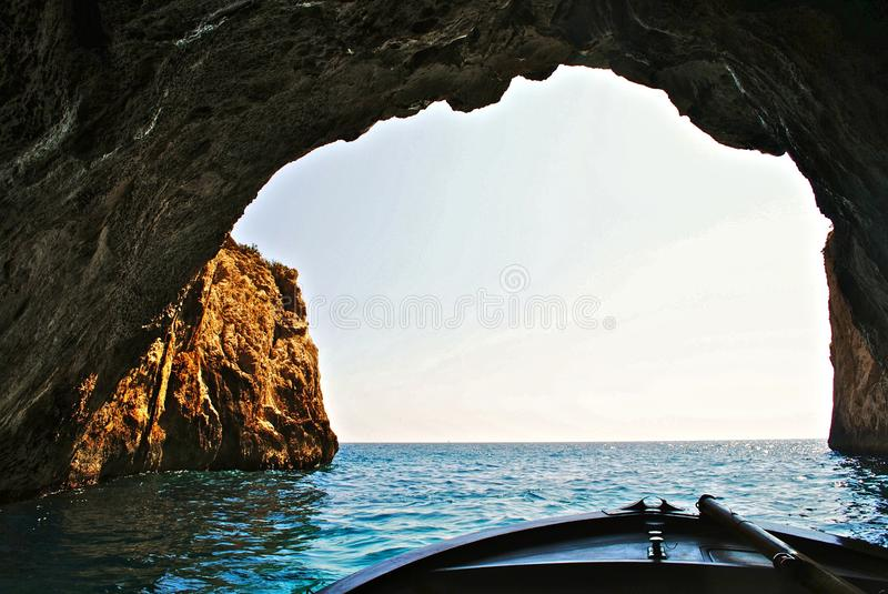 Boat In A Large Sea Cave Free Public Domain Cc0 Image