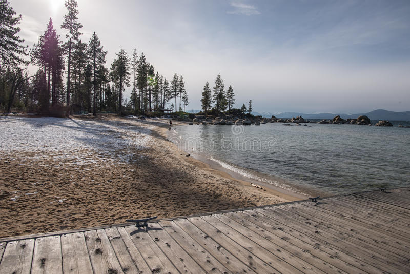 Boat Launch Facilities and Docks in Kings Beach State Recreation Area, Lake Tahoe. Lake Tahoe is a large freshwater lake in the Sierra Nevada Mountains stock photos