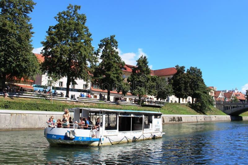Boat on the Ljubljanica in Ljubljana Slovenia royalty free stock photo
