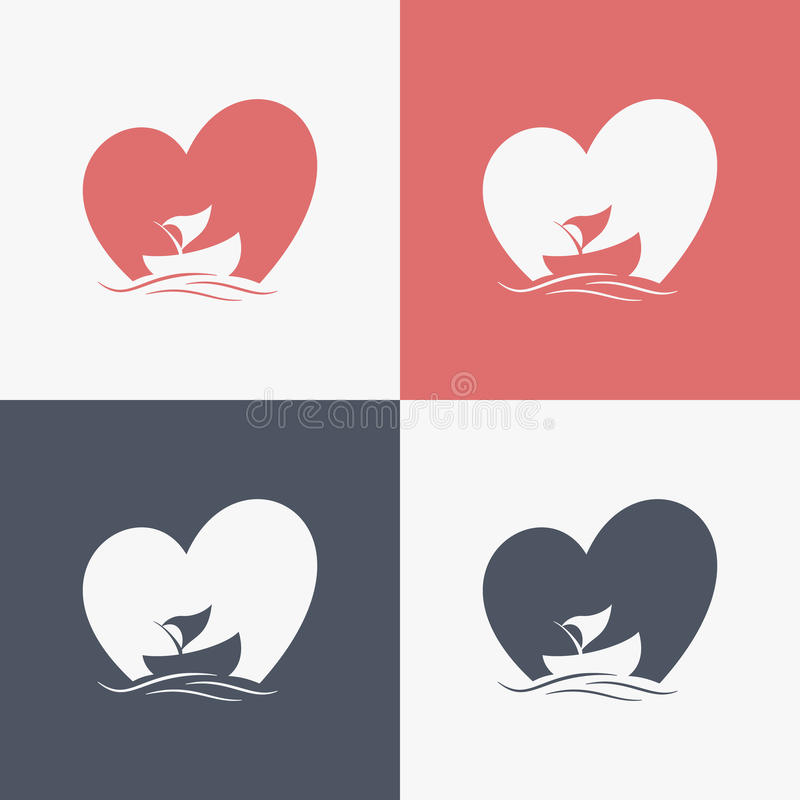 Boat logo with heart shape background. Boat logo color with heart shape background vector illustration