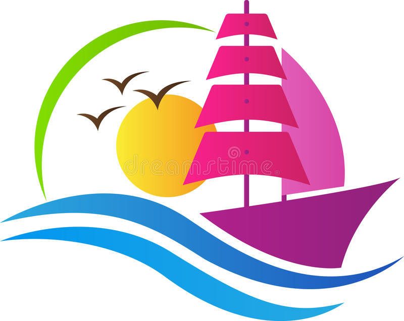 Boat logo. A vector drawing represents boat logo design vector illustration