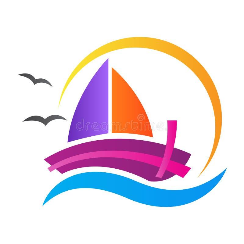 Boat logo voyage travel tour water sea vector design royalty free illustration