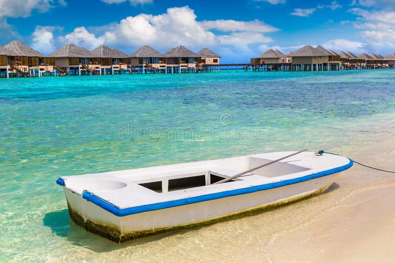 Boat in the Maldives royalty free stock images