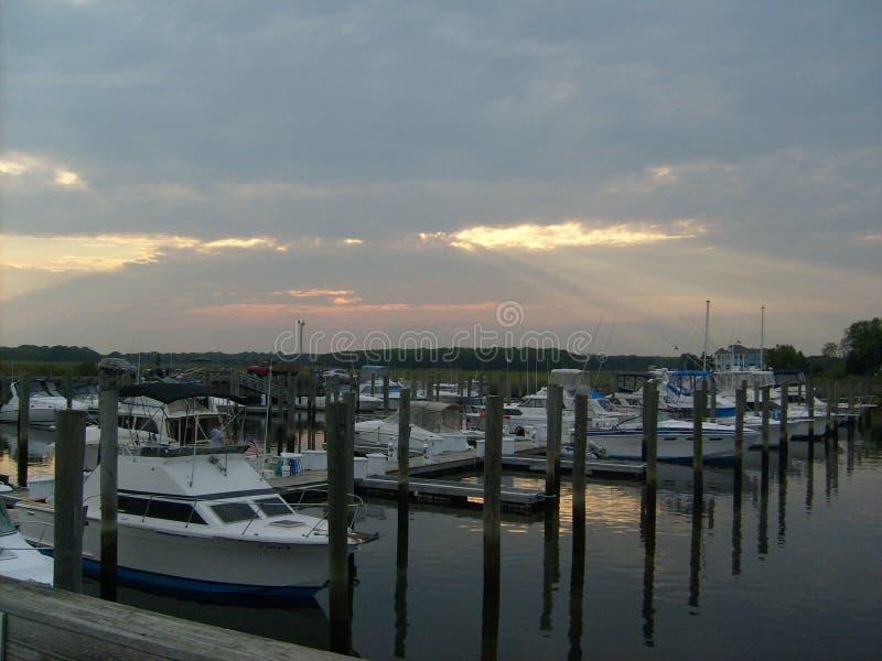 Boat Marina Sunset stock photography
