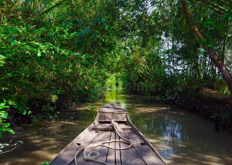 Boat in the Mekong Delta stock photography