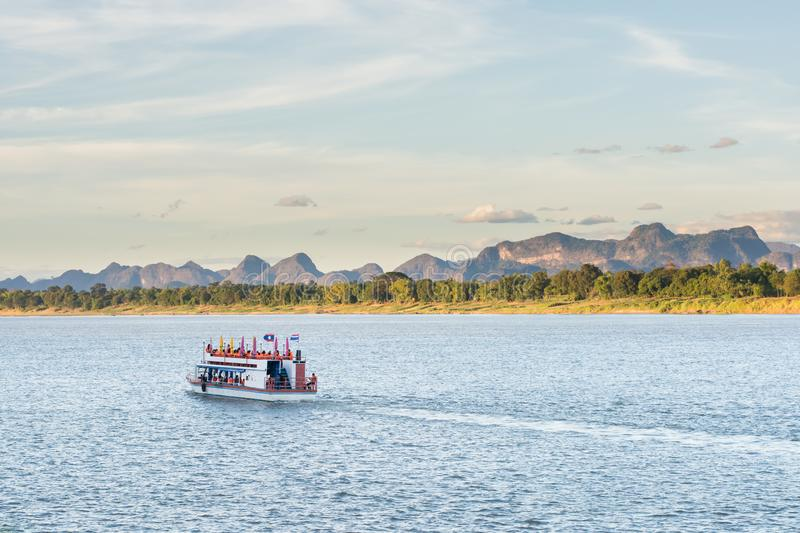 The boat in Mekong river Nakhonphanom Thailand to Lao.  stock photography