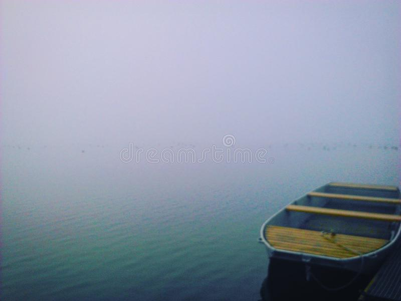 Boat on the Milada Lake, czech republic royalty free stock photos