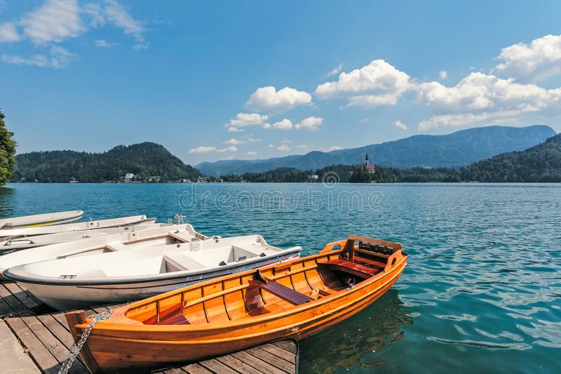 Boat moorage. On the shores of Lake Bled royalty free stock photo