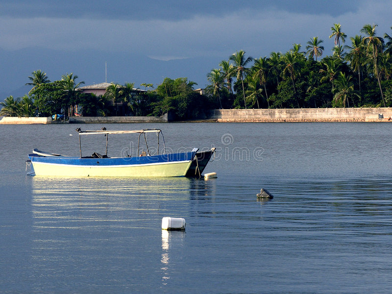 Boat moored in Guanabara Bay stock photos