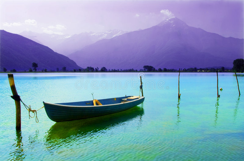 Boat moored in the lake royalty free stock photo