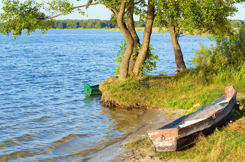 Download Boat Near The Summer Lake Shore Stock Image - Image: 17317121