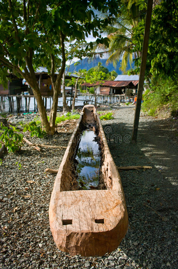 Boat at New Guinea island, Papua province. Boat near lake at New Guinea island, Papua province stock photos