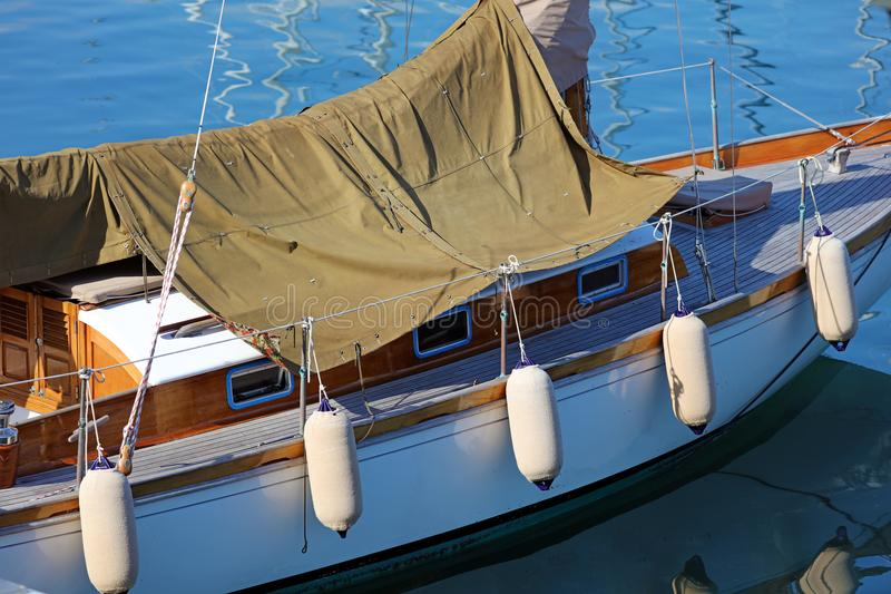 Boat in Nice French riviera, mediterranean coast, Eze, Saint-Tropez, Cannes and Monaco. Blue water and luxury yachts. French riviera, Côte d`Azur royalty free stock image