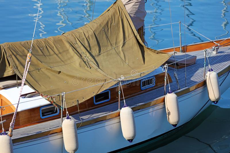 Boat in Nice French riviera, mediterranean coast, Eze, Saint-Tropez, Cannes and Monaco. Blue water and luxury yachts. French riviera, Côte d`Azur royalty free stock photos