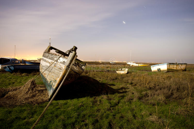 Download Boat at night stock image. Image of grass, beached, abandoed - 24141607