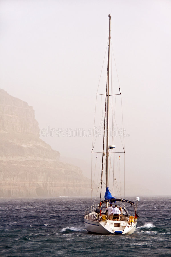Boat off coast of Gran Canaria stock photo