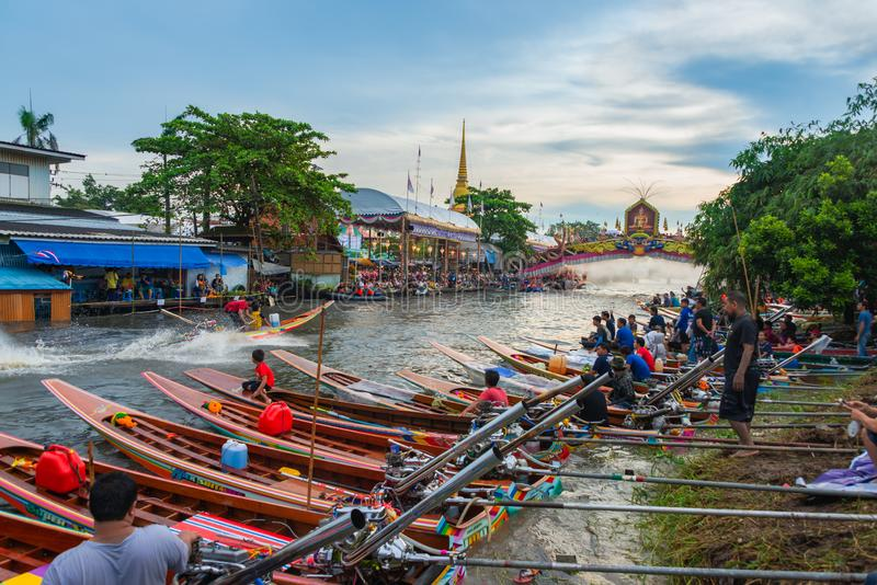 Boat parade Lotus Receiving Festival the end of Buddhist Lent day tradition Wat Bangplee yai nai temple. Samut Prakan, Thailand - October 23, 2018 : The Lotus stock photos