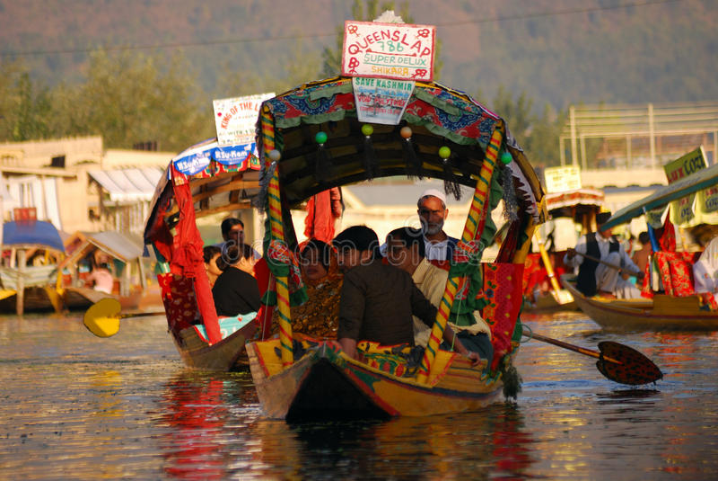 Boat people, Srinagar, Kashmir, India stock images