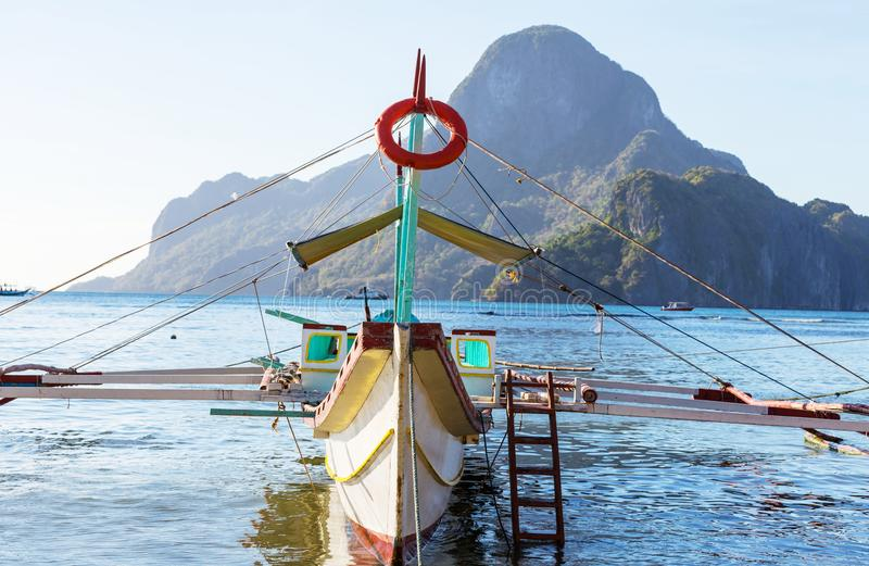 Boat in Philippines. Traditional Philippino boat in the sea, Palawan island, Philippines royalty free stock image