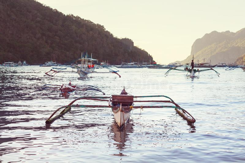 Boat in Philippines. Traditional Philippino boat in the sea, Palawan island, Philippines stock image