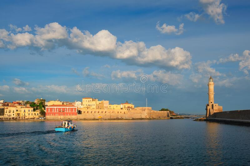 Boat in picturesque old port of Chania, Crete island. Greece stock photography