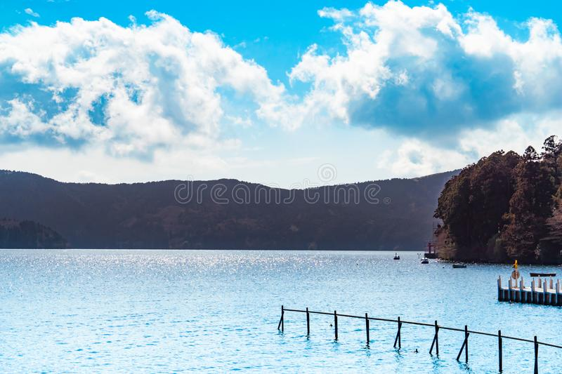 Boat pier of Ashi Lake in Hakone Japan royalty free stock photo