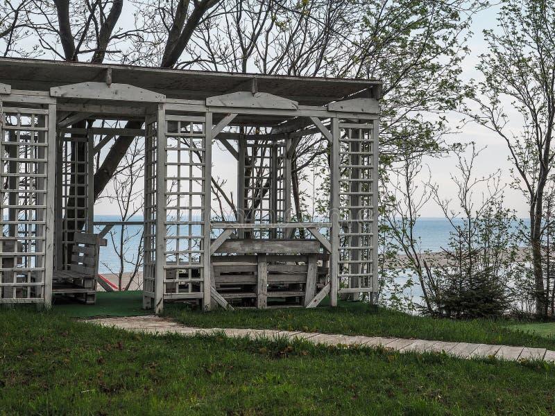 A boat pier on the Black sea coast near Anapa, Krasnodar region of Russia. royalty free stock photography