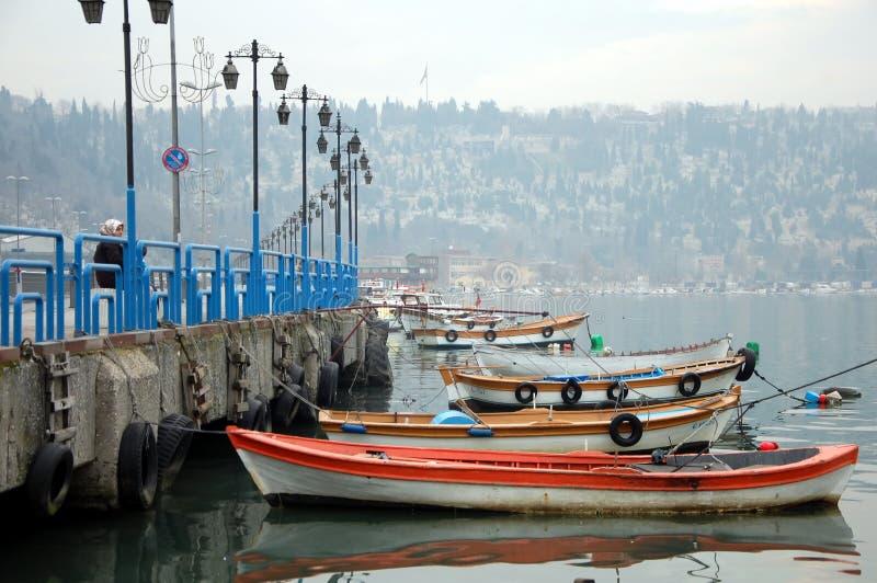 Boat pier in Istanbul. ISTANBUL, TURKEY - JAN 21, 2011 - Boat pier in Eyup district of Istanbul, Turkey royalty free stock photo