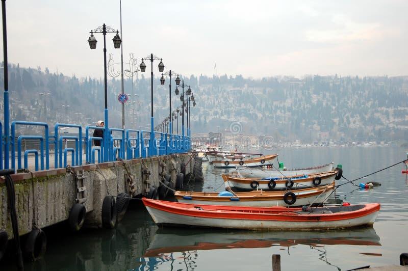 Boat pier in Istanbul. ISTANBUL, TURKEY - JAN 21, 2011 - Boat pier in Eyup district of Istanbul, Turkey stock image