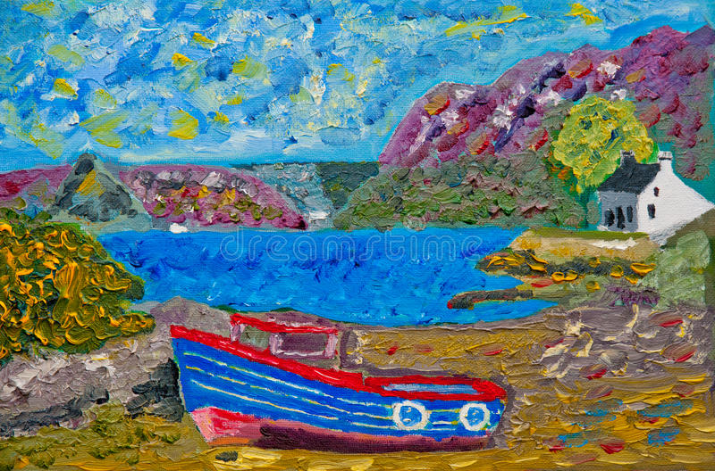 Download Boat At Plockton: Oil On Canvas Stock Illustration - Illustration of gorse, rocks: 27497906