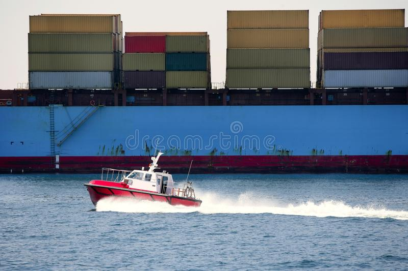 Download Boat Port Pilots Compared To Cargo Container Stock Photo - Image of crate, black: 13286390