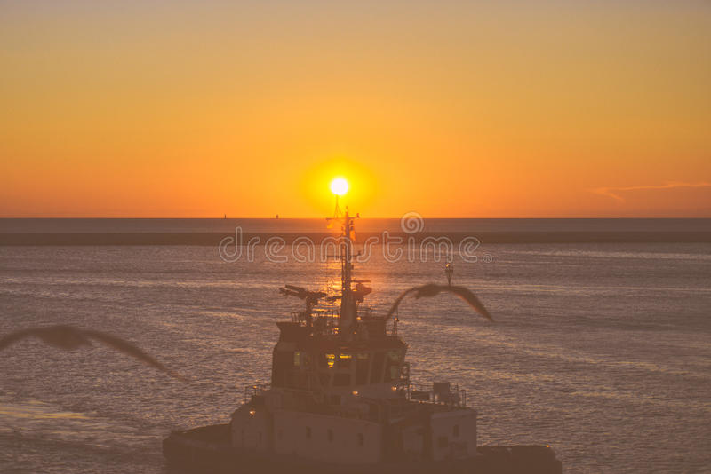 Boat In Port At Sunset With Birds stock images