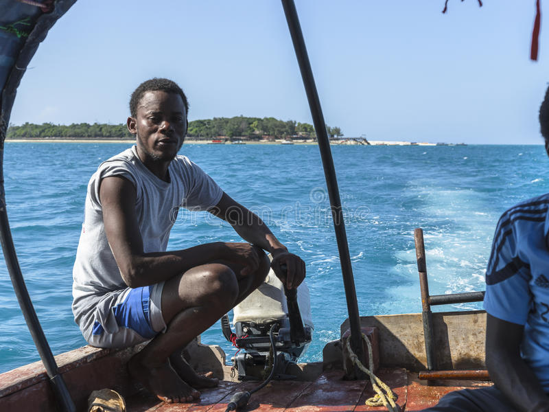 Boat from Prison Island to Zanzibar Town royalty free stock photo