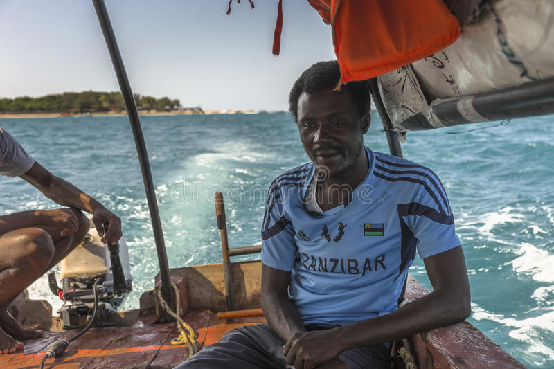 Boat from Prison Island to Zanzibar Town royalty free stock image