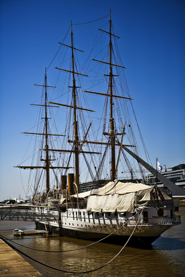 The Boat of Puerto Madero. The Boat at the Waterfront of Puerto Madero, Buenos Aires stock photography