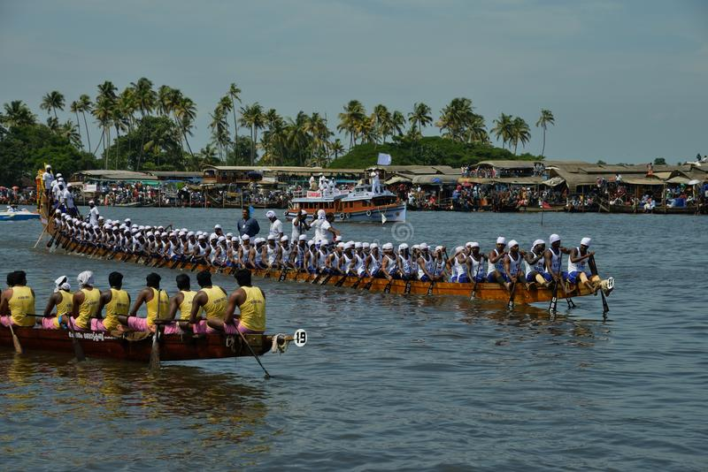 Boat Race at Alapuzha, India (Nehru Trophy 2017). A scene from Nehru Trophy Boat Race, a popular Vallam Kali held in the Punnamada backwater near Alappuzha royalty free stock photography