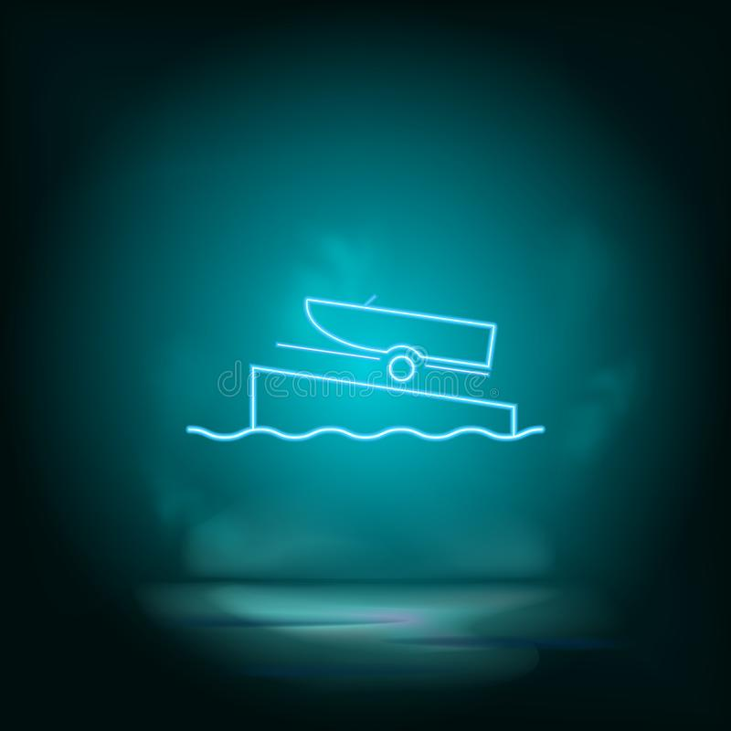 Boat on a ramp blue neon  icon. Simple element illustration from map and navigation concept. Boat on a ramp blue neon. Icon. Real estate concept  illustration vector illustration