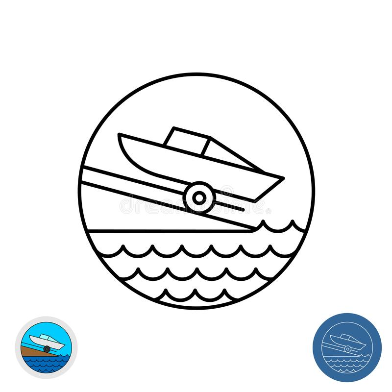 Boat ramp outline icon. Motor boat slip round sign. Marina launch place symbol. Boat ramp outline icon. Motor boat slip round sign. Marina launch place symbol vector illustration