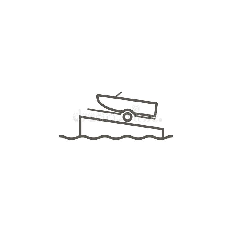 Boat on a ramp vector icon. Simple element illustration from map and navigation concept. Boat on a ramp vector icon. Real estate concept vector illustration stock illustration