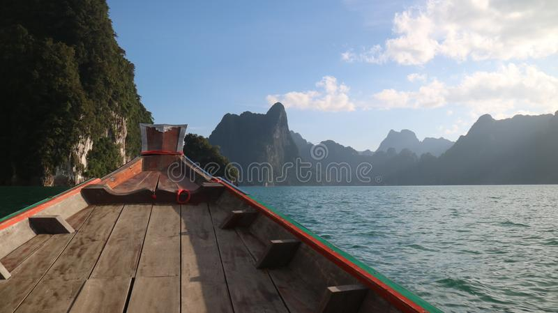 Boat of ratchaprapa dam of suratthani thailand. Ratchaprapa dam. travel of suratthani thailand royalty free stock photos
