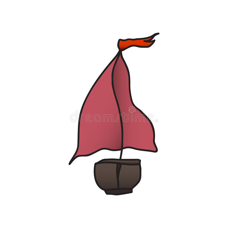 Boat with a red sail. vector illustration. Drawing by hand. royalty free illustration