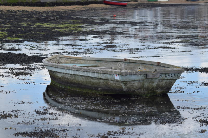 Boat with reflection. royalty free stock photo