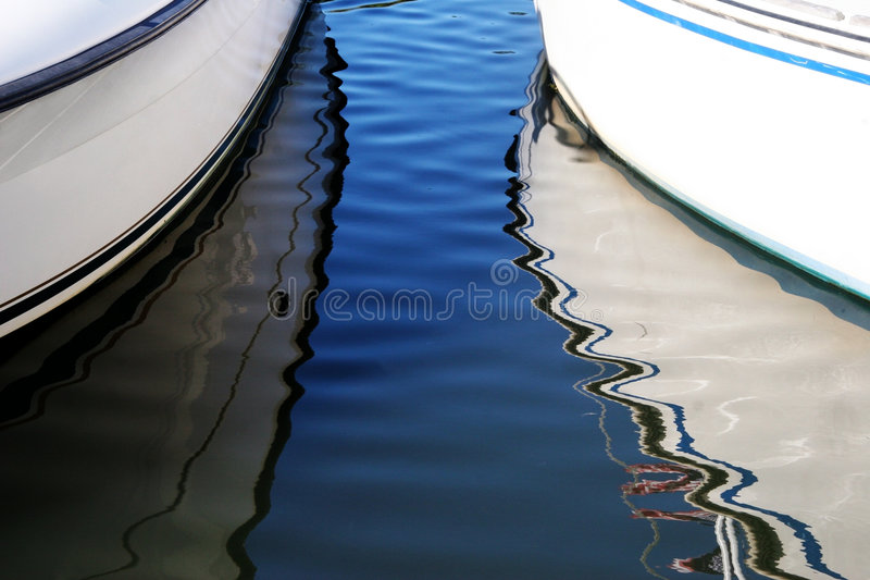 Boat reflections. Abstract boat reflections stock images