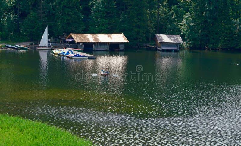 Boat rental. At a lake royalty free stock photo