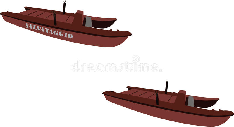 Boat rescue. Swimmers in difficulty to control transport people royalty free illustration