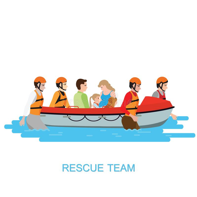Boat rescue team helping people by pushing a boat through a flooded isolate on white. Vector illustration vector illustration
