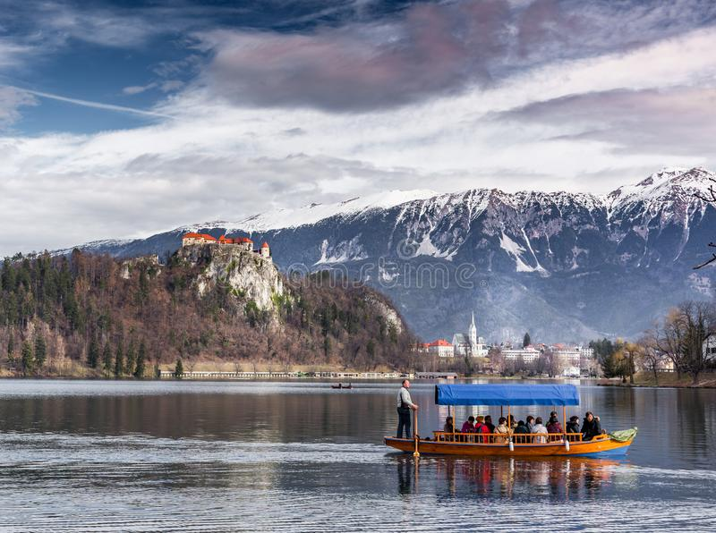 A boat ride on lake Bled stock photography