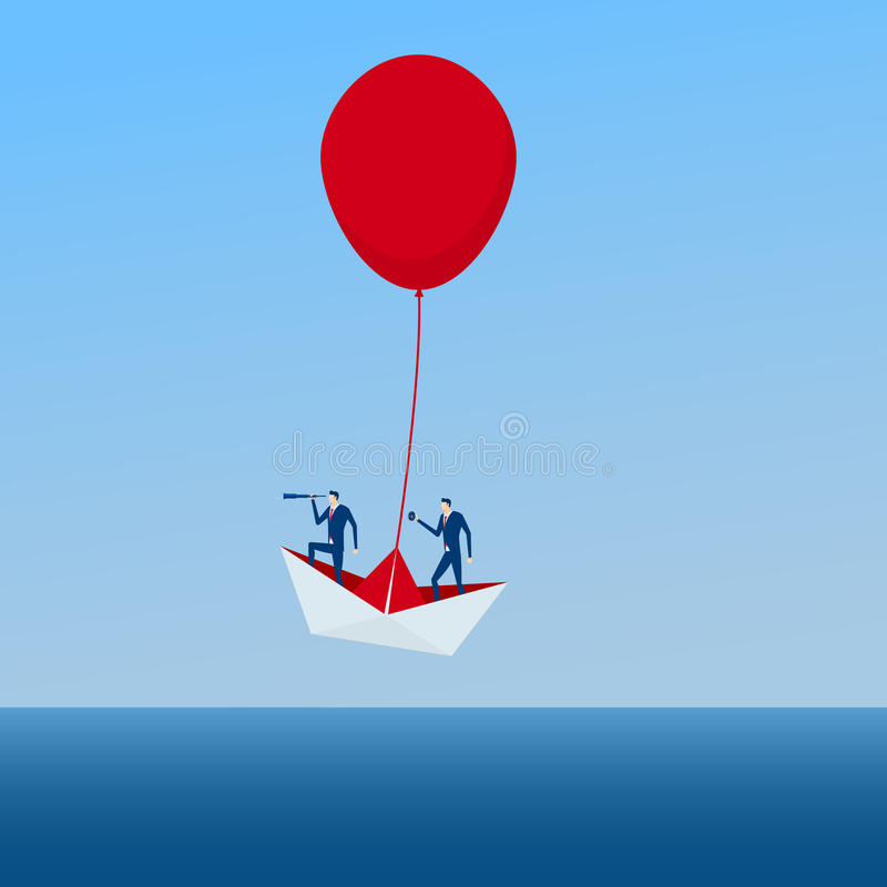 The Boat rises above with the red balloon. Business advantage opportunities and success concept. stock illustration
