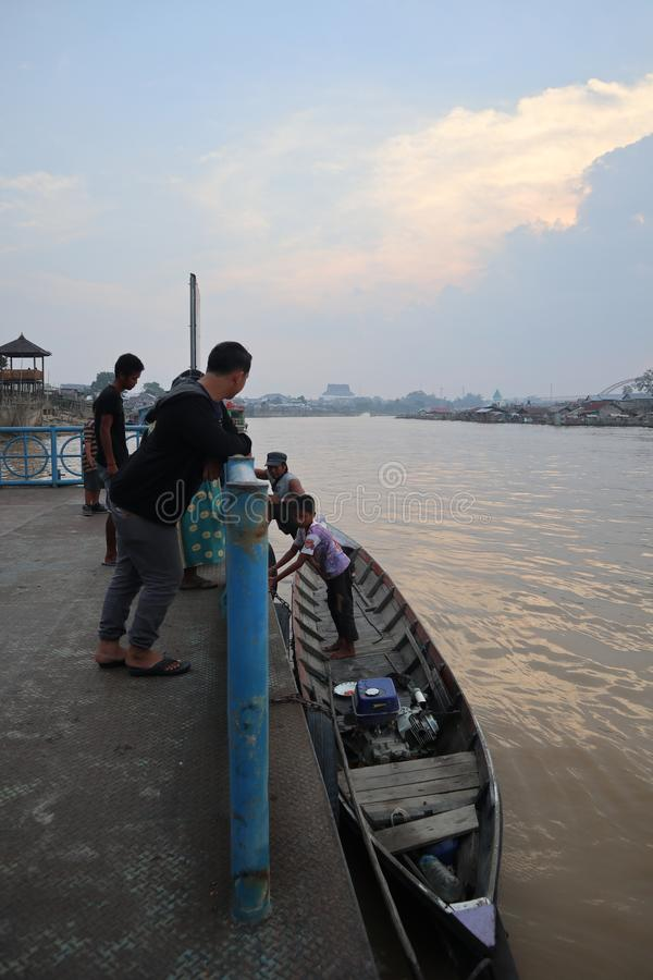 Boat in river Kahayan Palangka Raya city. Walking by boat is great for seeing the scenery along the river royalty free stock images